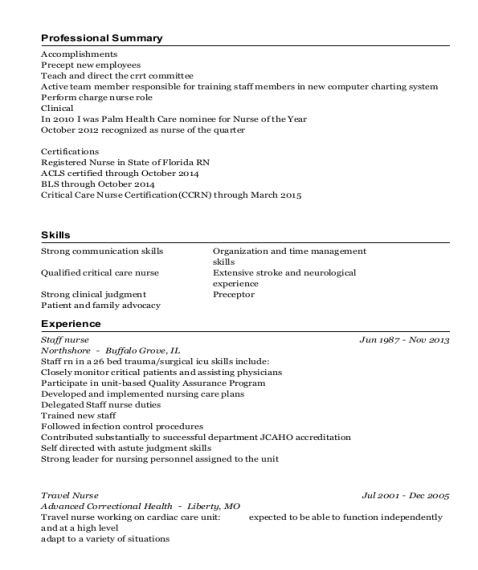Staff Nurse resume example Florida