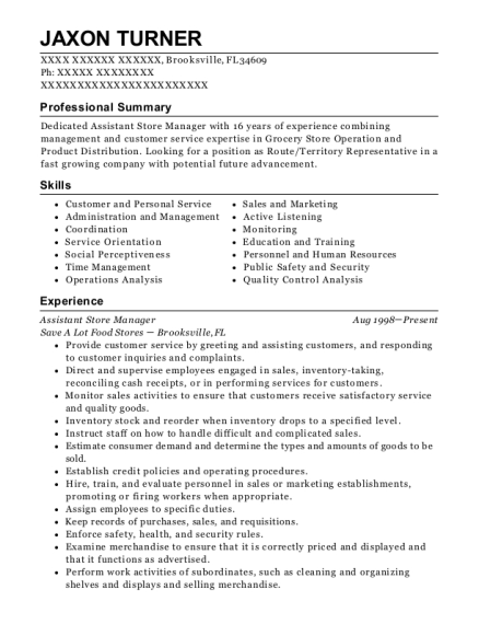Assistant Store Manager resume sample Florida