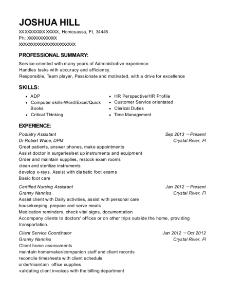 Podiatry Assistant resume example Florida