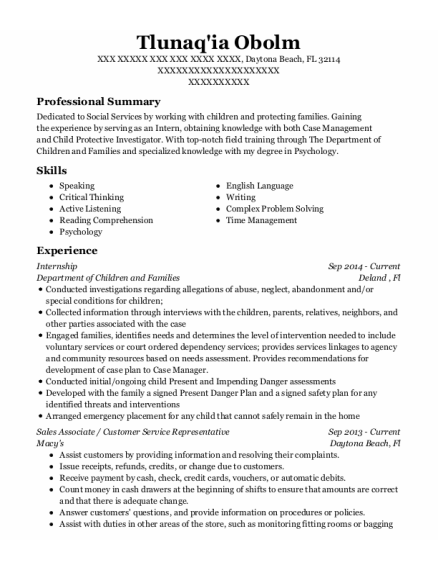 Internship resume format Florida