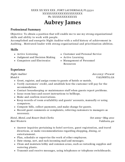 Night Auditor resume sample Florida
