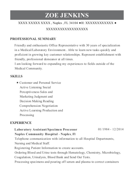 Laboratory Assistant resume template Florida