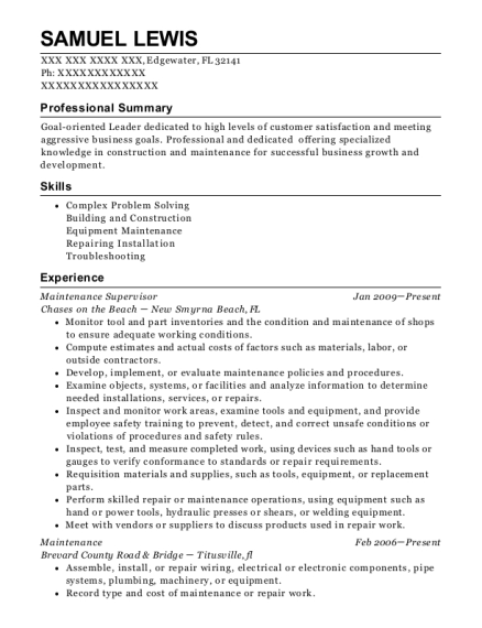 Maintenance Supervisor resume template Florida