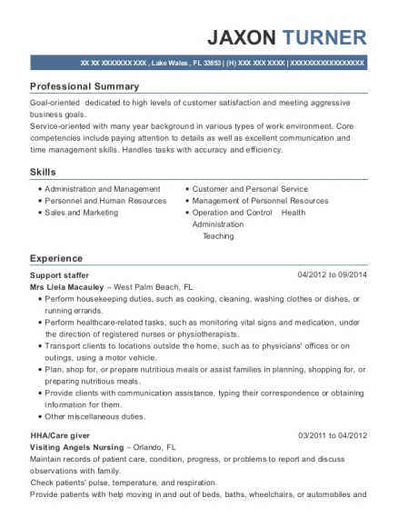 Support staffer resume template Florida