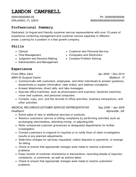 Front Office Clerk resume sample Florida