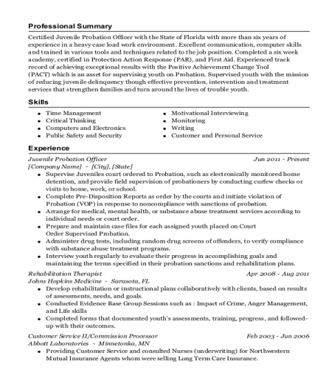 Juvenile Probation Officer resume example Florida