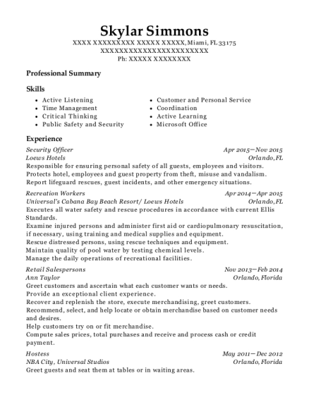 Security Officer resume example Florida