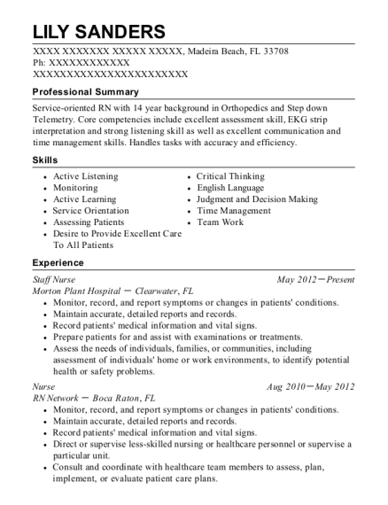 Staff Nurse resume template Florida