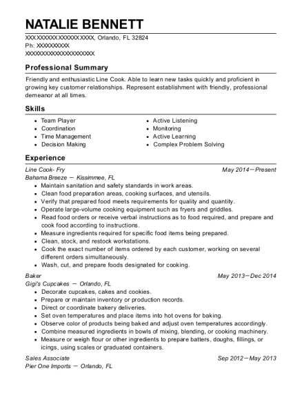 Line Cook Fry resume example Florida