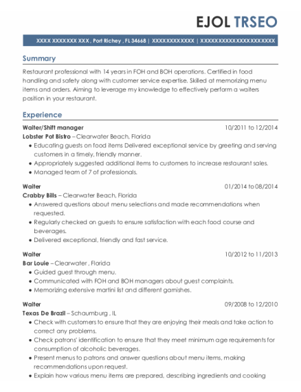 Waiter resume format Florida