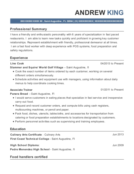 Line Cook resume example Florida