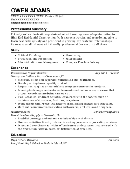 Construction Superintendent resume sample Florida