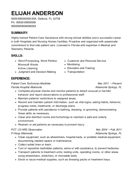 Patient Care Technician Med resume example Florida