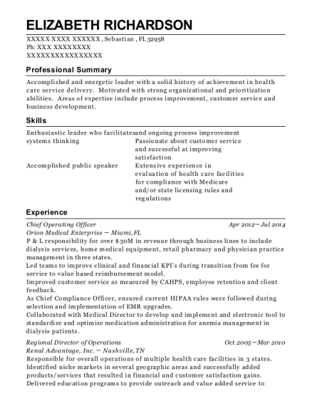 Chief Operating Officer resume sample Florida