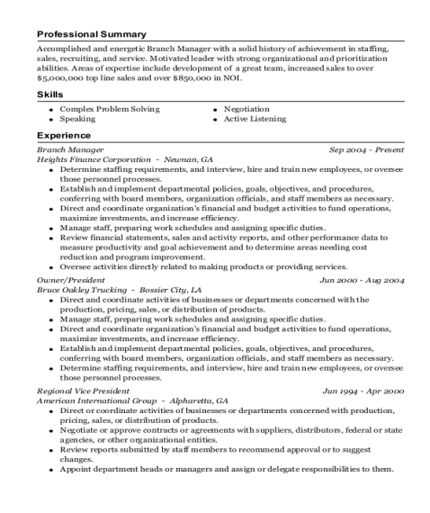 Branch Manager resume template Florida