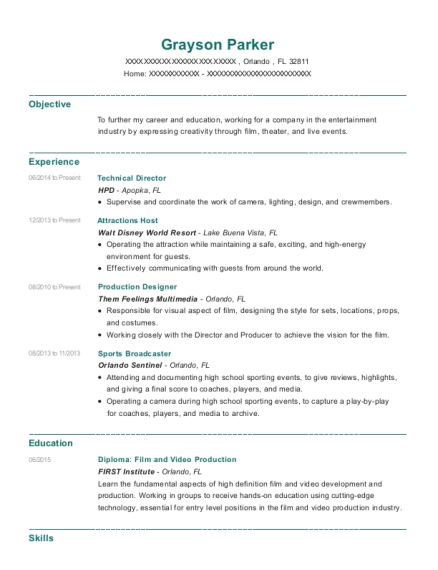 Technical Director resume template Florida