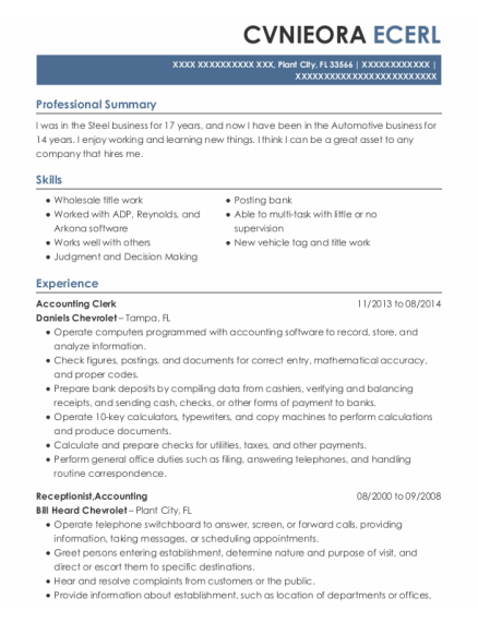 Accounting Clerk resume example Florida
