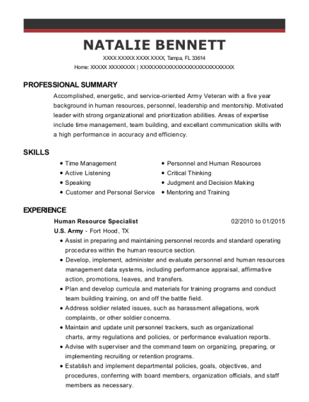 Human Resource Specialist resume format Florida