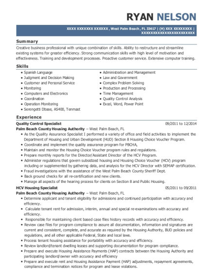 Quality Control Specialist resume example Florida