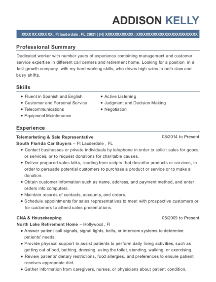 Telemarketing & Sale Representative resume format Florida