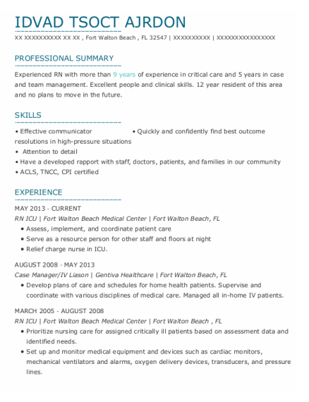 Rn Icu resume template Florida