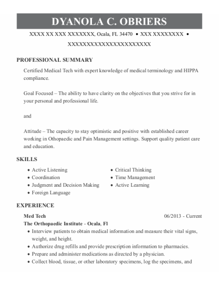 Med Tech resume template Florida