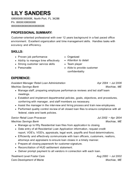 Assistant Manager Retail Loan Administration resume format Florida