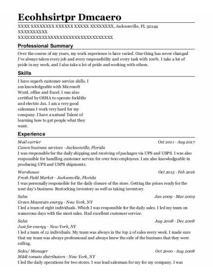 mail carrier resume example Florida
