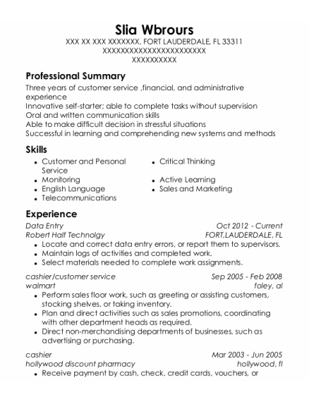 Data Entry resume sample Florida