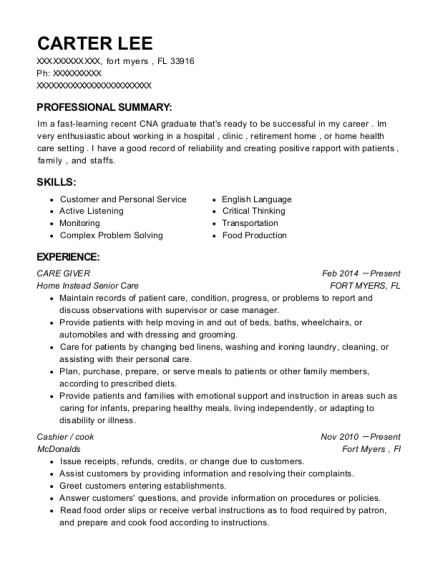 CARE GIVER resume format Florida