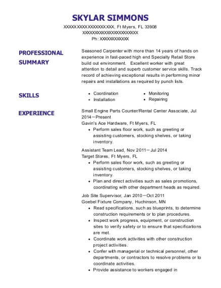Small Engine Parts Counter resume sample Florida