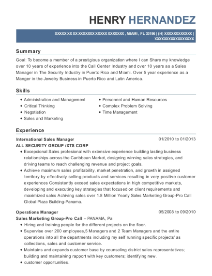 International Sales Manager resume example Florida