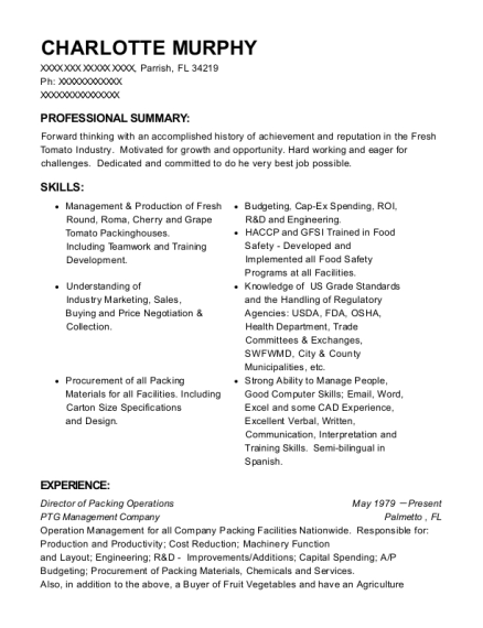 Director of Packing Operations resume sample Florida