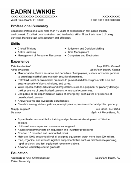 Supply Sergeant resume template Florida