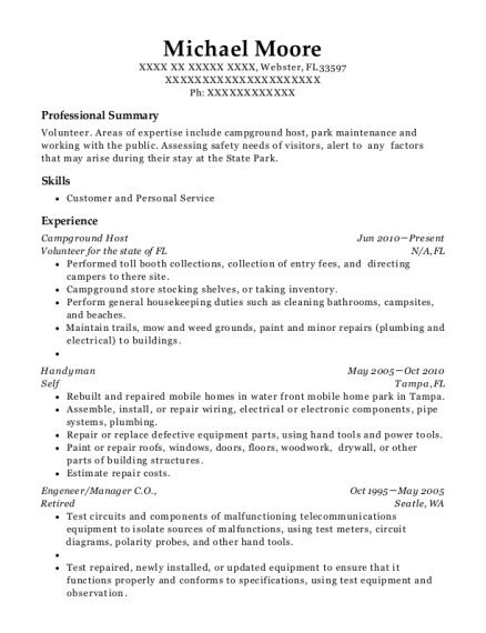 Campground Host resume example Florida