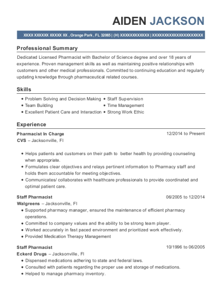 Pharmacist in Charge resume sample Florida