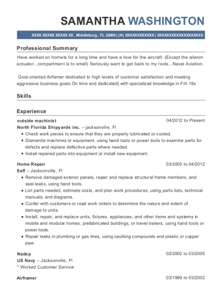 outside machinist resume example Florida