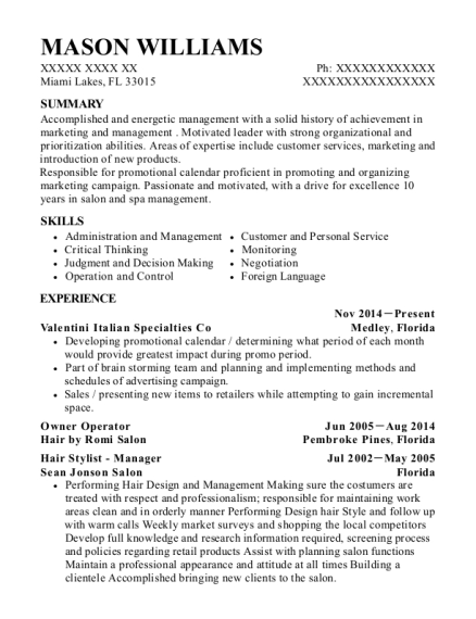 Owner Operator resume sample Florida