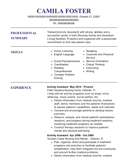 Activity Assistant resume template Florida