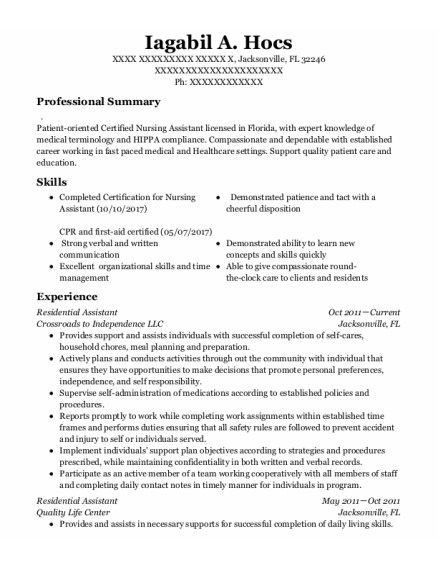Residential Assistant resume example Florida