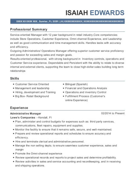Administrative Manager resume sample Florida