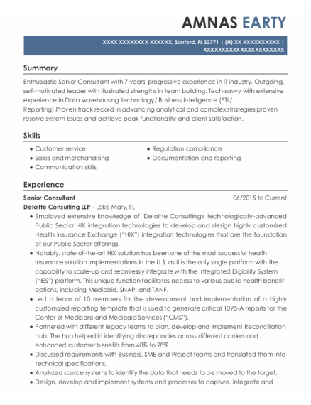 Senior Consultant resume example Florida