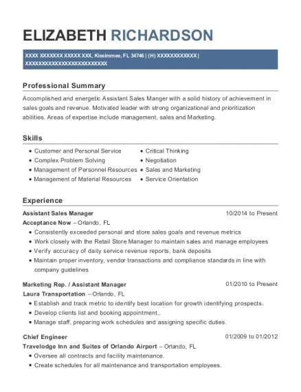 Assistant Sales Manager resume format Florida