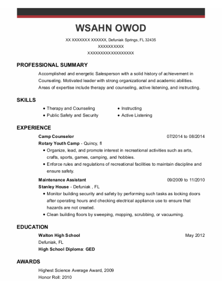 Camp Counselor resume example Florida