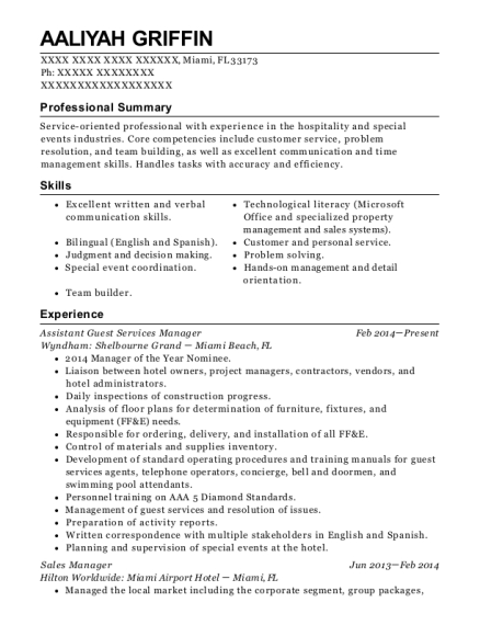 Assistant Guest Services Manager resume sample Florida