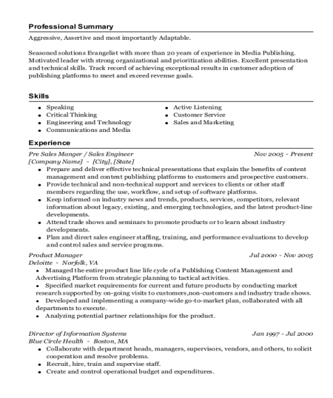 Pre Sales Manger resume sample Florida