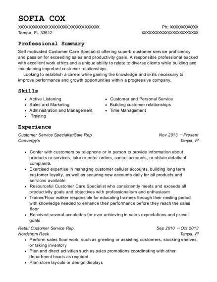 Customer Service Specialist resume example Florida