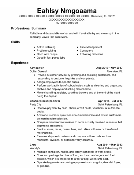 Key Carrier resume format Florida