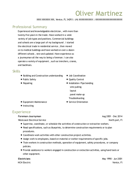 Foreman Journyman resume sample Florida