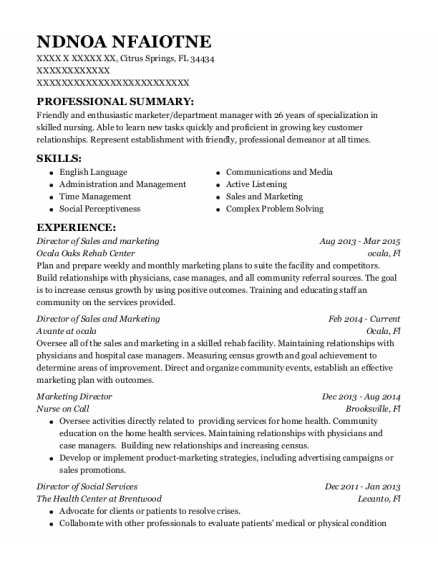 Director of Sales and Marketing resume example Florida